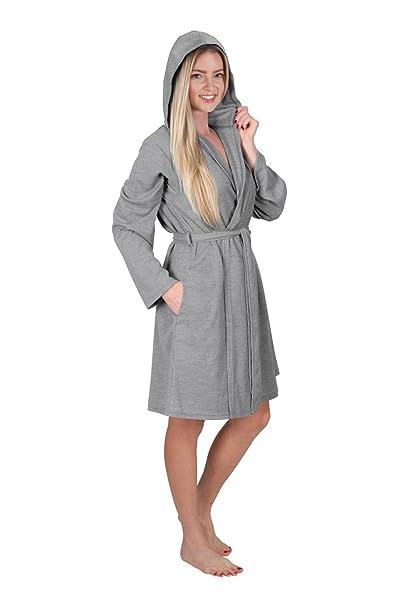 Women s Short Hooded Robe Ladies Waffle Knit Robe Hoodie Bathrobe Hoodie  Wrap Travel Robe (Small 5b114f9a5