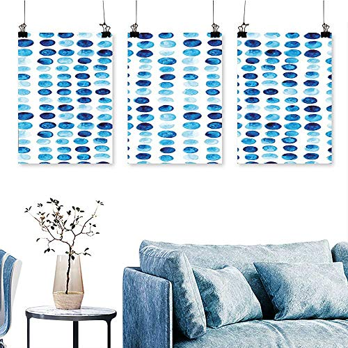 SCOCICI1588 3 Panel Canvas Wall ArtHand Drawn Circles Rounds Color Cells Painted Bubble Like Grungy Style Tile Blue Print On Canvas No Frame 16 INCH X 40 INCH X 3PCS