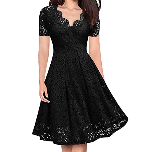 7095a1e1ae2 MOSERIAN Women V-Neck Off Shoulder Lace Formal Evening Party Dress Short  Sleeve Dress Black