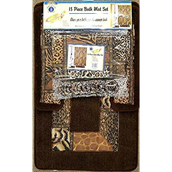Etonnant Brown Safari 15 Piece Bathroom Set Animal Print Bath Rugs Shower Curtain U0026  Rings