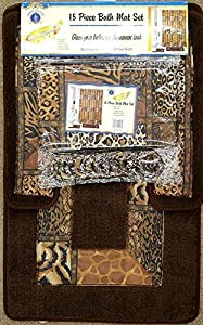 Brown Safari 15 Piece Bathroom Set Animal Print Bath Rugs Shower Curtain U0026  Rings