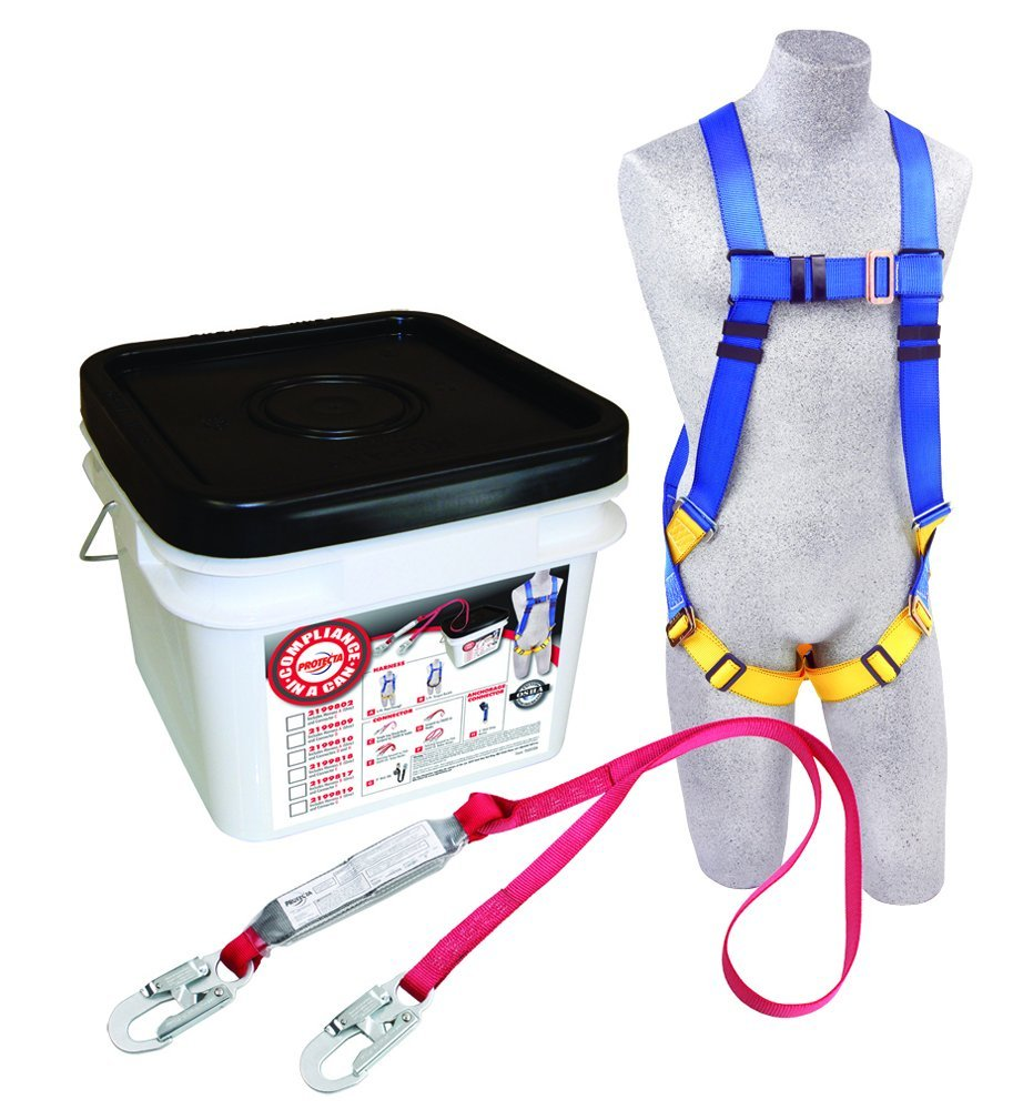 3M Protecta Compliance In A Can Light, Roofers Kit, 5-Point Universal Harness, Single Leg 6' Shock Absorbing Lanyard, 310 lb, 2199802
