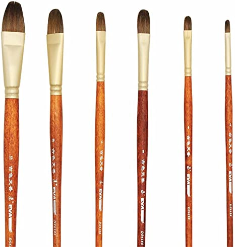 6pcs//Set Filbert Artist Paint Brush For Oil Acrylic Watercolor NEW US Seller