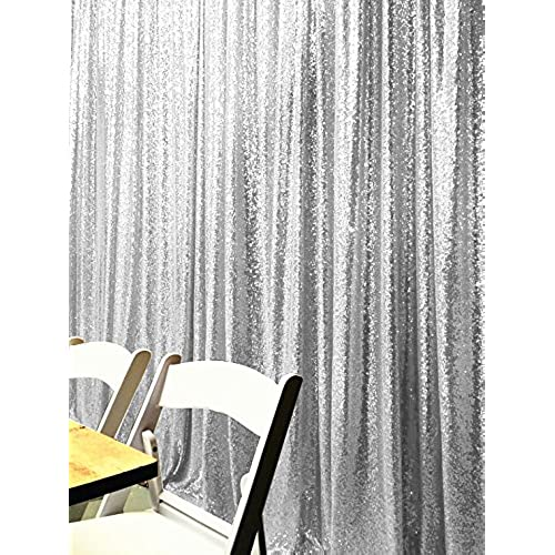 4FTX6FT Silver Shimmer Sequin Fabric Photography Backdrop