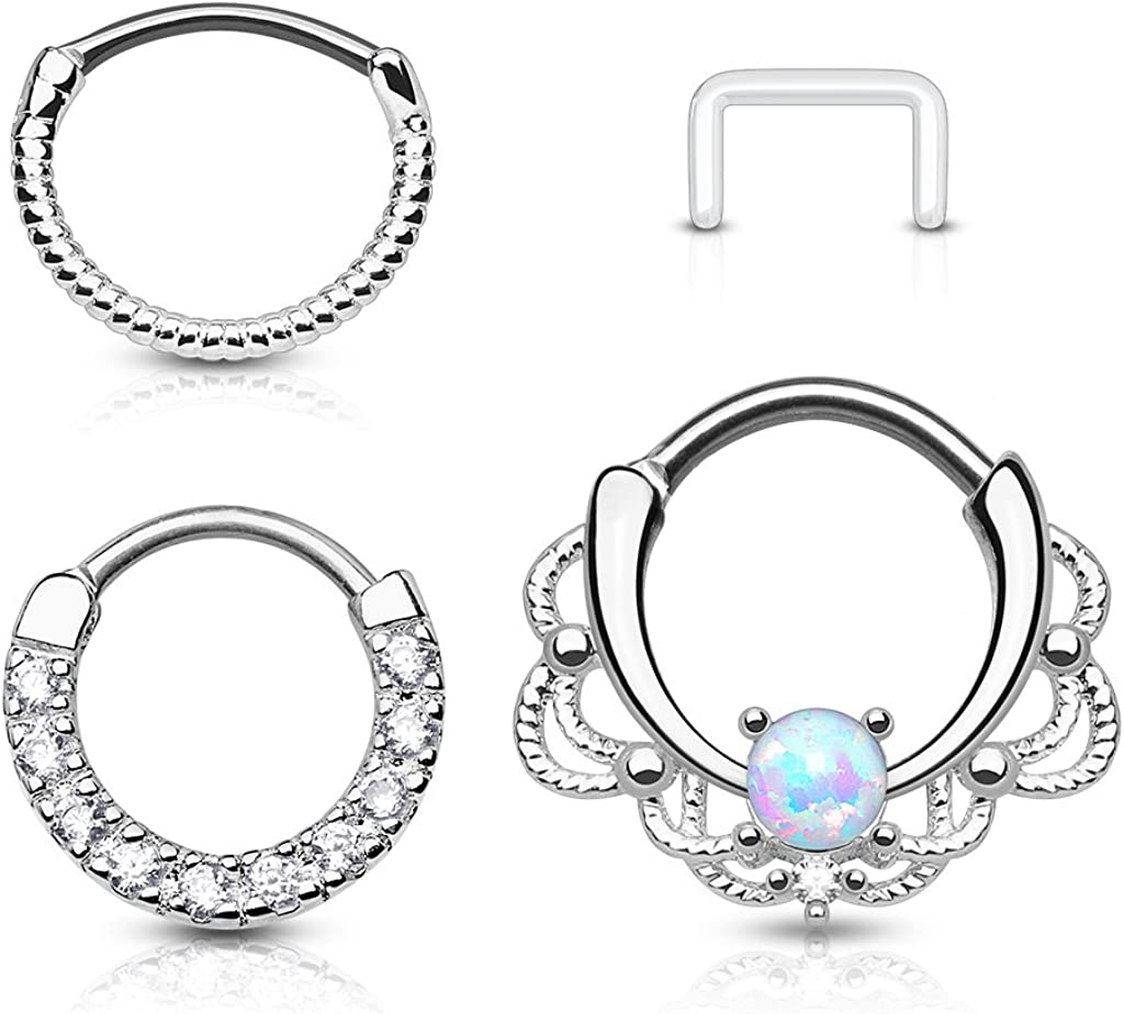 Fifth Cue 16G 3pc 316L Surgical Steel Nose Septum Ear Cartilage Clicker Ring Set