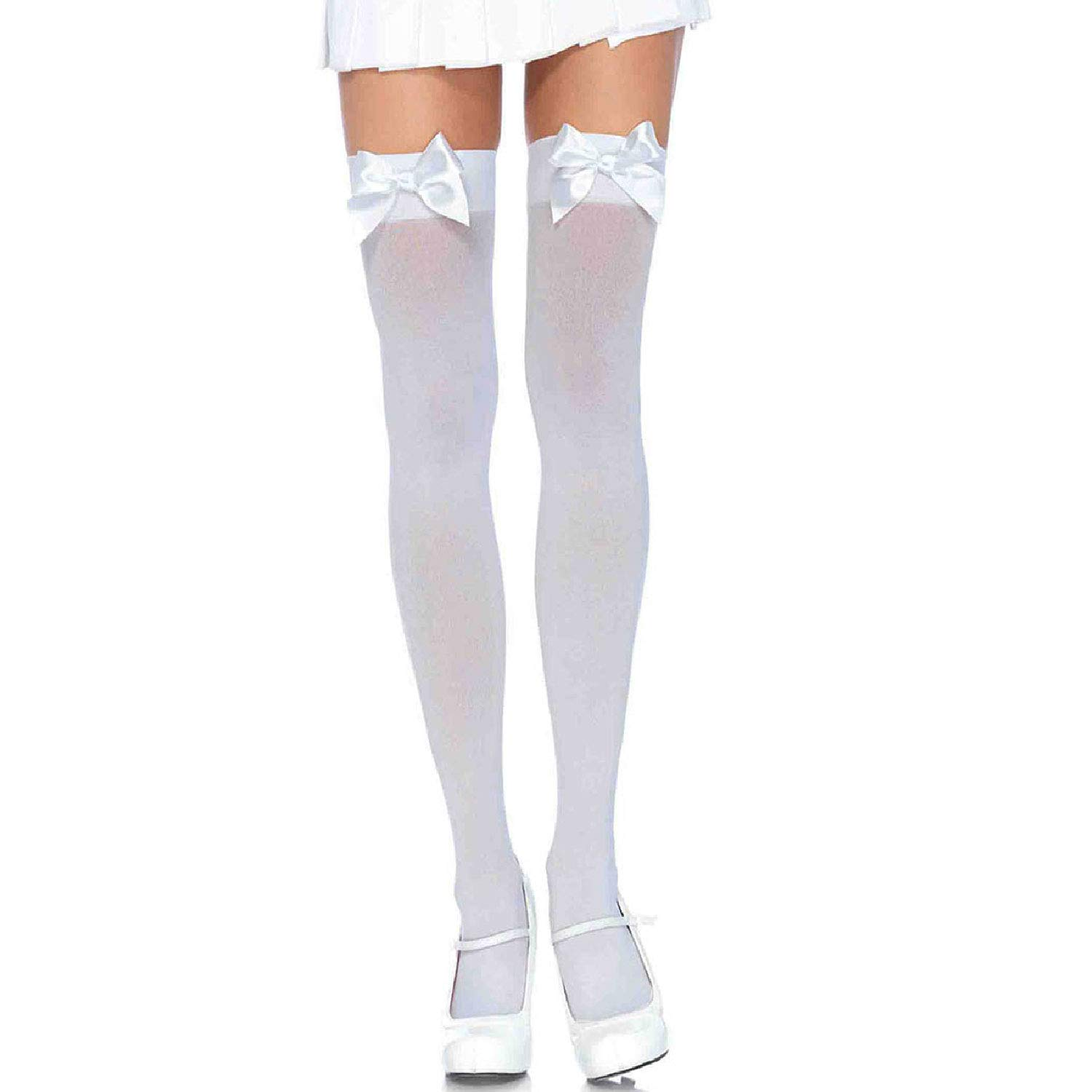 7805037432ec6 Leg Avenue Opaque Suspender Stockings with Bows: Amazon.co.uk: Toys & Games
