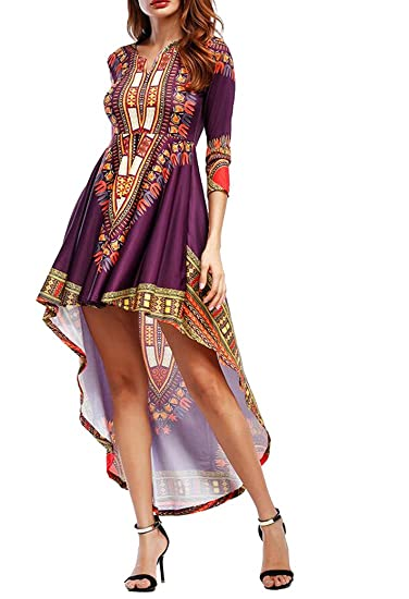 14c0ecad6c9 OULIU Womens African Print Dashiki 3 4 Sleeve High Low Maxi Dress Purple OS  at Amazon Women s Clothing store