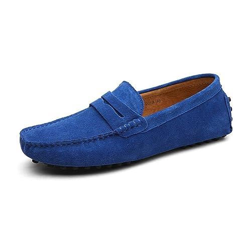 grande vente aebae f6960 CCZZ Homme Conduite Chaussures Suède Cuir Mocassin Chaussures Penny Loafers  Casual Bateau Chaussures de Ville Flats Grande Taille 38-49 EU