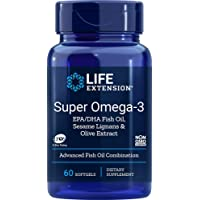 Life Extension Super Omega-3 (Fish Oil) EPA/DHA with Sesame Ligans and Olive Extract, 60 Softgels