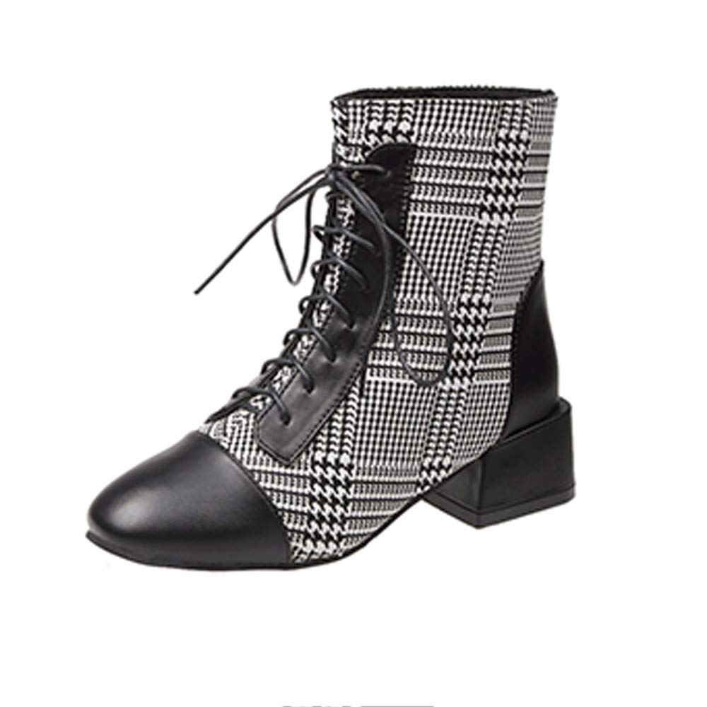 Women Lattice Lace Up Exquisite Square Chunky Heel Ankle Booties PU Surface Martin Boots