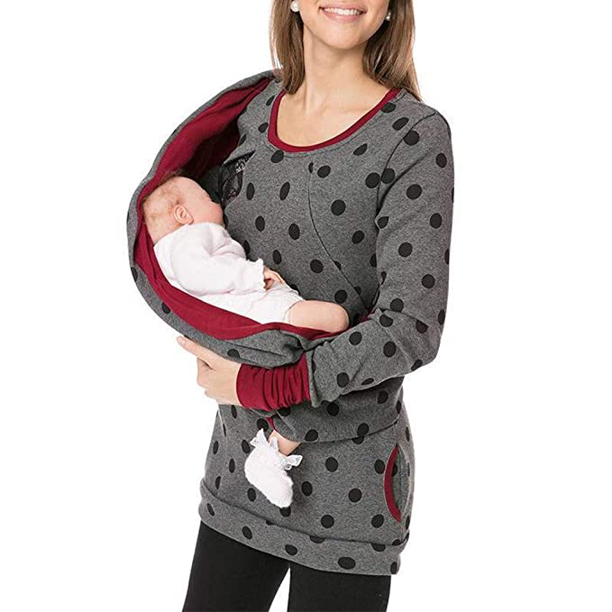 LHWY Premamá Invierno Leggins Abrigos Sudadera con Capucha De Mujer Embarazada Sudadera con Capucha De Maternidad Lactancia Materna Jumper Top: Amazon.es: ...