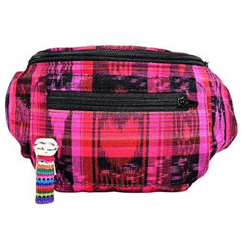 Tropical Tourist Costume (Native Tribal Fanny Pack, Boho Chic, Eco Woven & Handmade in Guatemala by Santa Playa (Tropical Fuchsia))