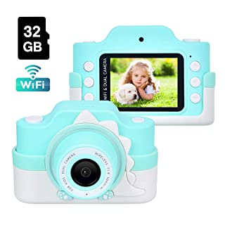 Funkprofi Kids Camera with WiFi, 24 Megapixel HD Kids Digital Camera, Shockproof Video Camcorder with 32GB TF Card and Soft Dinosaur Silicone Cover, 2 Inch IPS Screen, Gift for 4-8 Year Old Boys