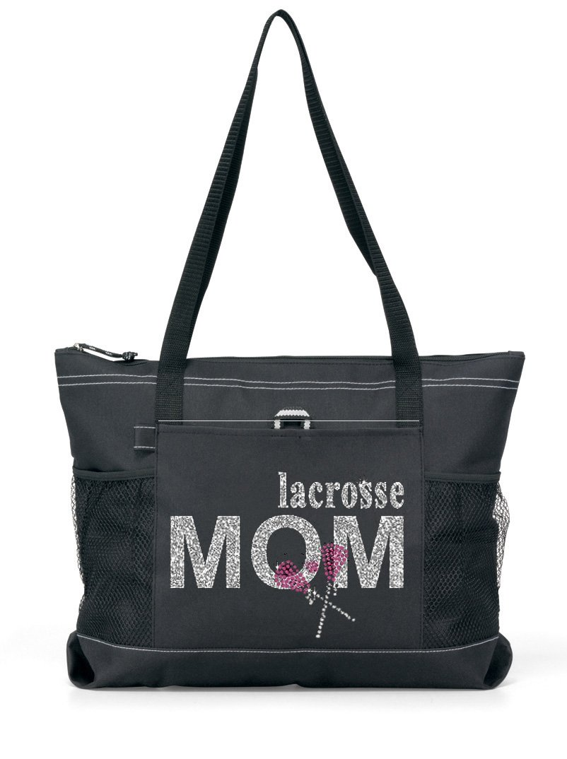 Totesntogs Rhinestone and Glitter Lacrosse Mom Tote. Silver glitter and rose color rhinestones on a Large Black Tote