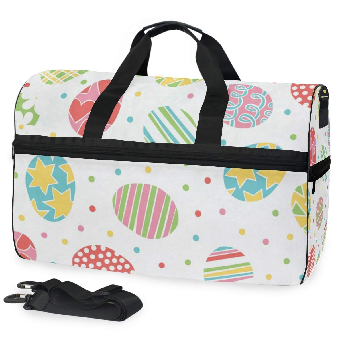 Travel Tote Luggage Weekender Duffle Bag Easter Colorful Eggs Large Canvas shoulder bag with Shoe Compartment