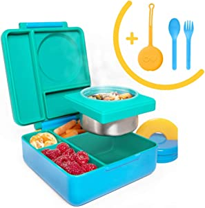OmieBox Bento Box for Kids Insulated Bento Lunch Box with Leak Proof Thermos Food Jar, 3 Compartments + Sunrise Utensil Set with Case