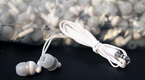 LowCostEarbuds Bulk Wholesale Lot of 25 White Gray Earbuds Headphones