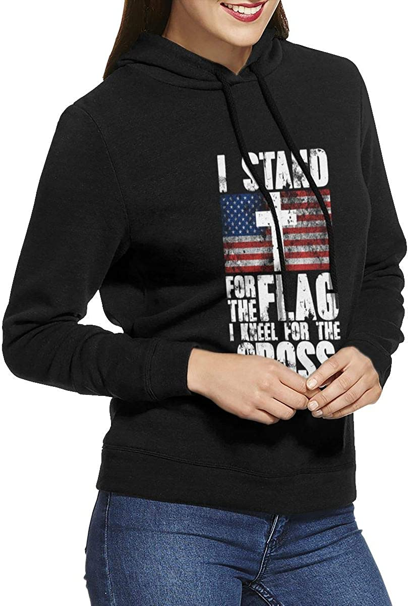 I Stand for The Flag and I Kneel for The Cross Jacket Pullover Hoodies for Girl Black