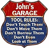 Great American Memories John's Garage My Tools My Rules Red Blue Sign Man Cave 12x12 Gift S125401
