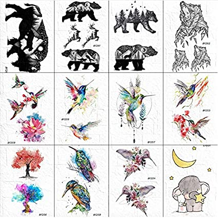 yyyDL Hombres cuello arte elefante tatuajes pegatinas mujeres ...