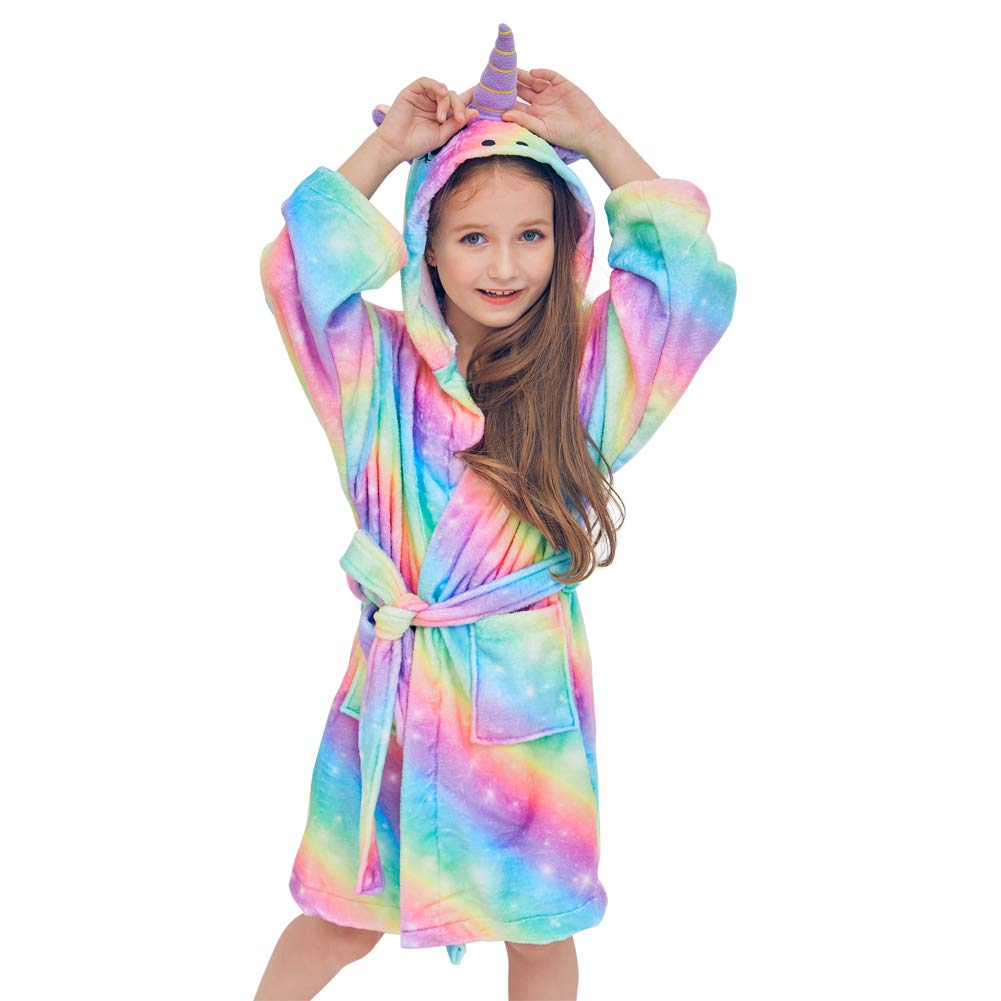 Basumee Kids Robe Unicorn Bathrobe Hooded Sleepwear Soft Loungewear(Rainbow)