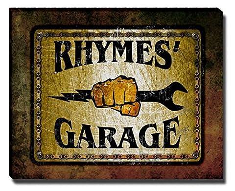 Rhymes's Garage Stretched Canvas Print (Cvs Rhymes)