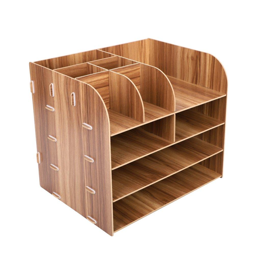 taccuino 32 x 25 x 27.5 cm Kirschholz documenti Organizer da scrivania in legno organizer per matite ufficio ufficio da collezione per ufficio con 10 scomparti sala da lavoro rimovibile