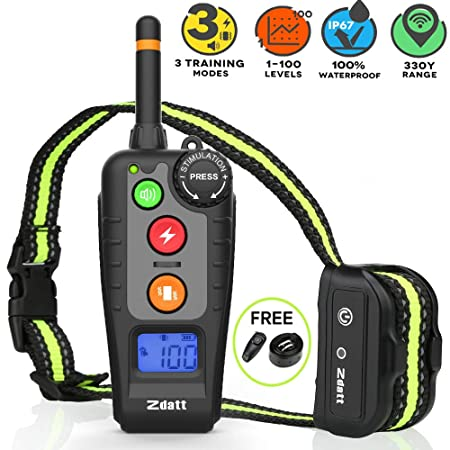 ZDATT Shock collar for dogs 2019 Latest Vesion Dog Training Collar w 3 Training Modes Dog Shock Collar with Remote 100 Waterproof Bark Collar with LED Screen Up to 1000Ft Remote Range, 0 100 levels