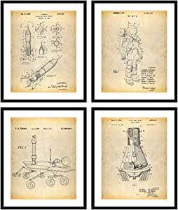 Bestbuddy Pet 8X10 Unframed Outer Space Exploration Decor Patent Posters Series Set of 4 Space Suite Astronaut Rocket Mars Rover N041