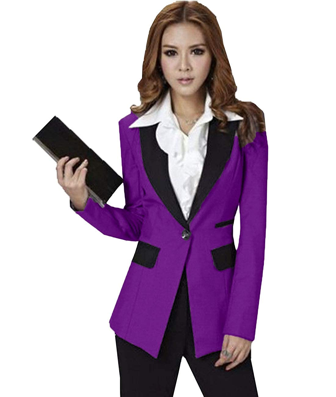 YSMO Frauen Slim Fit 2 St/ück Anzug Langarm Hose mit Jacke Anzug Set Business Work Blazer
