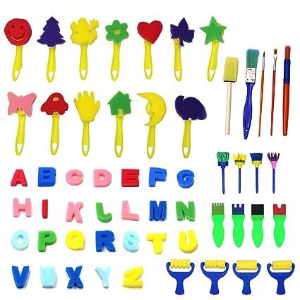 1afd527b02 Kids Art & CRAFT kit 56 pezzi pennelli per pittura spugna per bambini da  colorare precoce