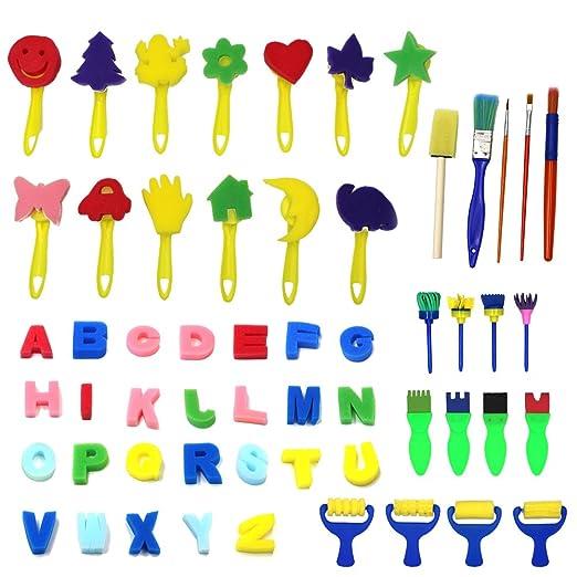 Kinder Art Craft 56 Stück Schwamm Malerei Pinsel Kinder Malen Kits