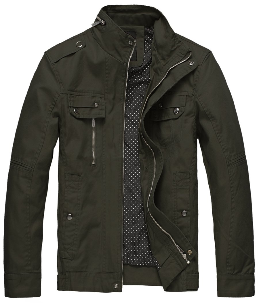 Wantdo Men's Cotton Lightweight Military Style Jacket Army Green,X-Large by Wantdo