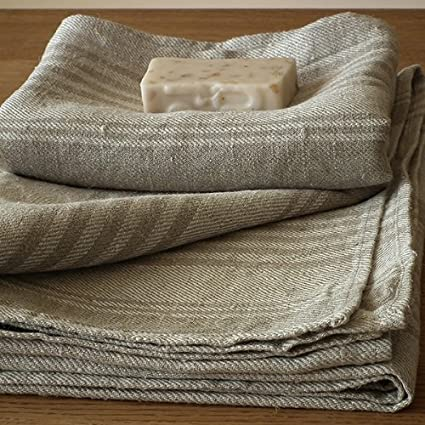 Amazon Com Set Of 4 Natural Striped Huckaback Linen Bath Towels