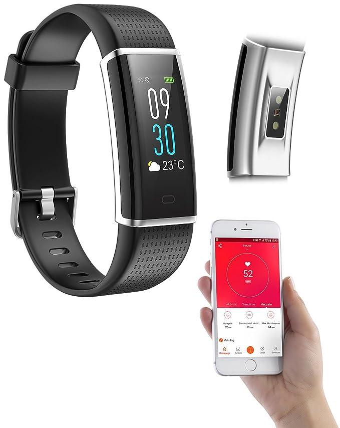 Newgen Medicals - Fitness Reloj: Fitness de pulsera, GPS de ruta, Pulso, XL de pantalla de colores, App, IP67 (Bluetooth brazalete de fitness): Amazon.es: ...