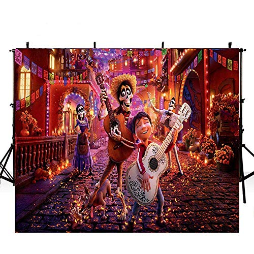 Happy Halloween Photography Background 7x5ft Coco Birthday Backdrops for Kids Cutsom Backdrop with Name Birthday Party Pictures Photocall ()