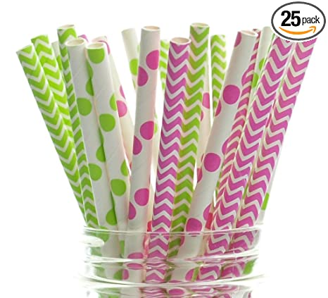 Melon Paper Straws Pack of 30