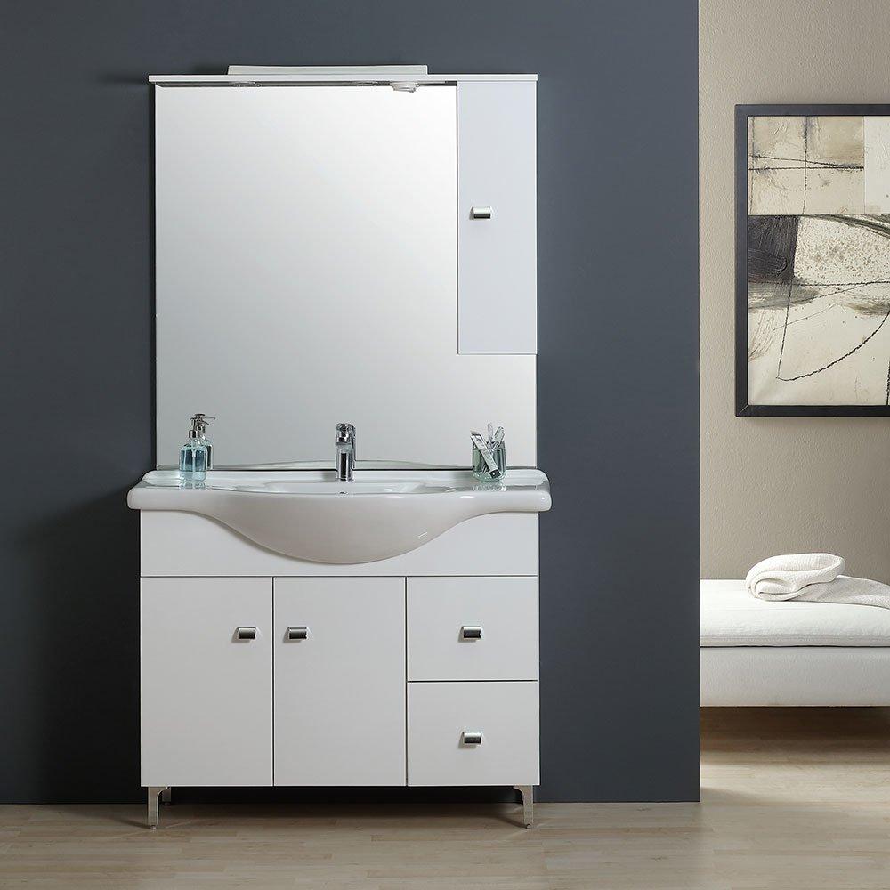 Meuble Salle De Bain Mvm ~ mobile bagno 106 cm classico con lavabo specchio e pensile bianco