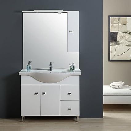 Mobile Bagno 105 Cm Classico Con Lavabo Specchio E Pensile Bianco