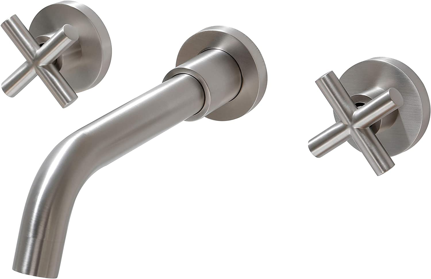 SITGES Brushed Nickel Bathroom Faucet, Double Handle Wall Mount Bathroom Sink Faucet and Rough in Valve Included (Brushed Nickel)
