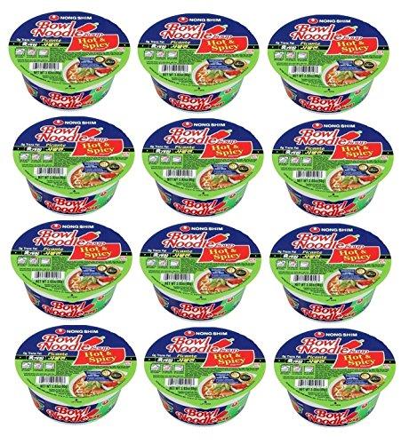 Nongshim Bowl Noodle Instant Noodle Soup Hot&spicy No Msg 12 Packs of 3.03 Oz