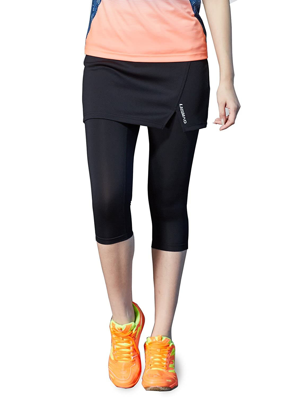 a404128a85aa0 Amazon.com: LIEBIAO Womens Capri Skirt, Active Skapri Running Skirted  Leggings,Athletic Tennis Skort Fits All Body Types (S-Waist(23