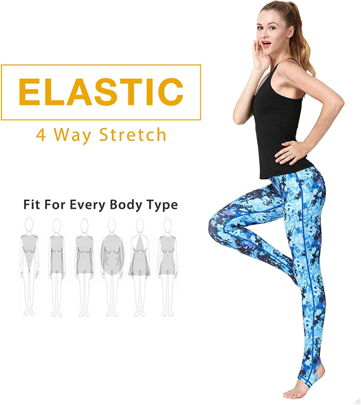 TECHMOO Women Printed Yoga Pants Leggings Training Sport Workouts Fitness Pants Capris