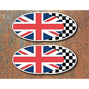 x2 Union Jack Chequered Flag Laminated Stickers