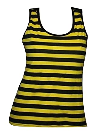 8098a8c26c Insanity Clothing Bumble Bee Yellow and Black Stripes Tank Top Vest (S/M)