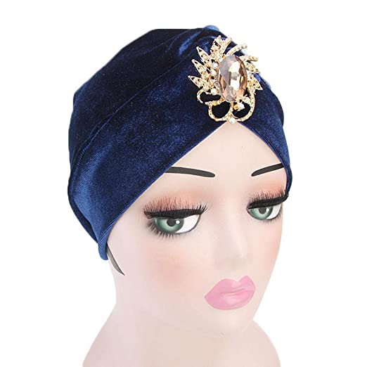 URIBAKE Woman Stretch Rhinestones Hair Loss Head Scarf Wrap Cap ... c0241bd0b72