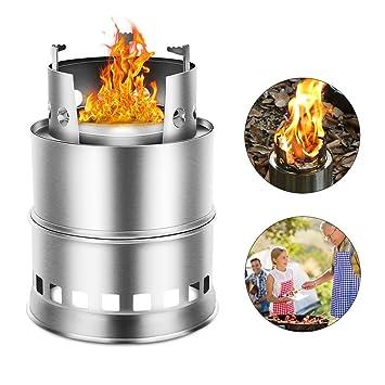 Estufa camping Pedernal fuego arranque supervivencia exterior luz portátil estufa estufa de leña solidificada cocina de acero inoxidable Picnic Barbacoa ...