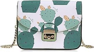 Jian E Sac à bandoulière - PU/Polyester, Sac à bandoulière Simple et décontracté pour Femme Cactus Print Fashion Trends Petit Sac carré - 20X8.8X15cm