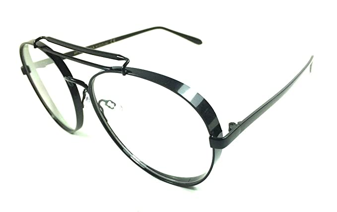 2785776859f Thick Bold Metal Frame Aviator Eyeglasses Clear Lens Sunglasses (Black