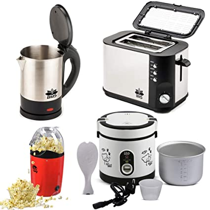BMS Lifestyle Wide Mouth Multi-Use Electric Kettle,Multi-Function Electric Rice Cooker 600ml, Pop-Corn Maker with Pop-up Toaster 4-Pcs Set